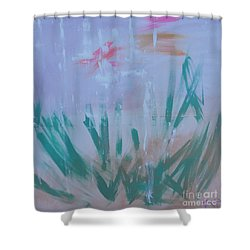 Shower Curtain featuring the painting Sleepy Pond by PainterArtist FIN