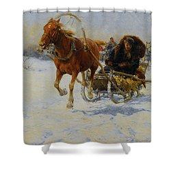 Sleigh Ride Shower Curtain by A Wierusz Kowalski