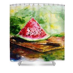 Sliced Watermelon Shower Curtain by Zaira Dzhaubaeva