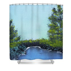 Shower Curtain featuring the painting Slickrock Pond by Jennifer Muller