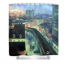 Sloan's The City From Greenwich Village Shower Curtain by Cora Wandel