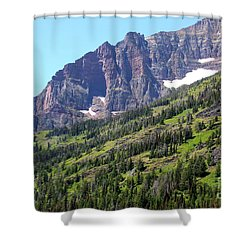 Sloping Mountain At Two Medicine Lake Shower Curtain by Carol Groenen