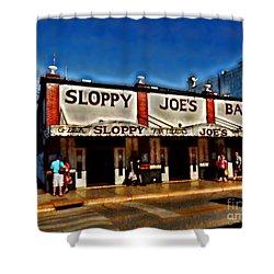 Sloppy Joe's Bar Shower Curtain by Joan  Minchak