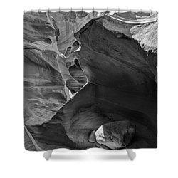 Slot Canyons In Black And White  Shower Curtain by Saija  Lehtonen