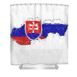 Slovakia Painted Flag Map Shower Curtain by Antony McAulay
