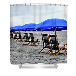 Slow Day At The  Beach Shower Curtain by Thomas Marchessault