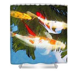 Slow Drift - Colorful Koi Fish Shower Curtain by Sharon Cummings