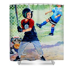 Slugger And Kicker Shower Curtain by Hanne Lore Koehler