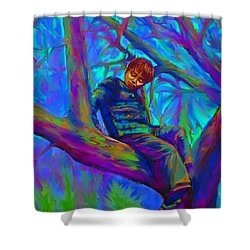Small Boy In Large Tree Shower Curtain