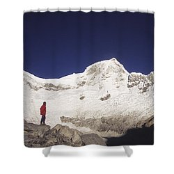 Small Climber Big Peaks Shower Curtain by James Brunker