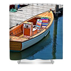 Small Dinghy Boat Art Prints Shower Curtain by Valerie Garner