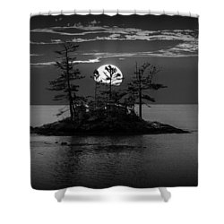Small Island At Sunset In Black And White Shower Curtain
