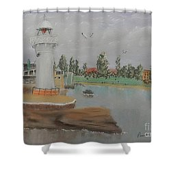Small Lighthouse At Wollongong Harbour Shower Curtain by Pamela  Meredith