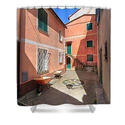 small square in Camogli Shower Curtain