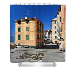 Shower Curtain featuring the photograph small square in Sori by Antonio Scarpi