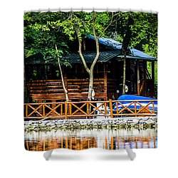 Small Wooden House Shower Curtain by Sotiris Filippou
