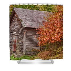 Shower Curtain featuring the photograph Small Wooden Shack In The Autumn Colors by Jeff Folger
