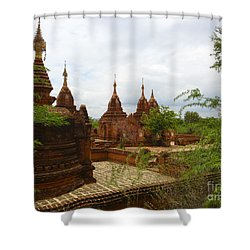 Shower Curtain featuring the photograph Smaller Temples Next To Dhammayazika Pagoda Built In 1196 By King Narapatisithu Bagan Burma by Ralph A  Ledergerber-Photography