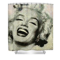 Smile Marilyn Monroe Black And White Shower Curtain
