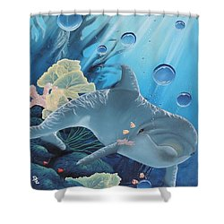 Shower Curtain featuring the painting Smiley by Dianna Lewis