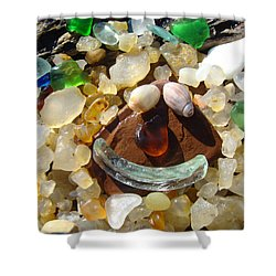 Smiley Face Art Prints Seaglass Shells Agates Beach Shower Curtain by Baslee Troutman