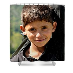 Shower Curtain featuring the photograph Smiling Boy In The Swat Valley - Pakistan by Imran Ahmed