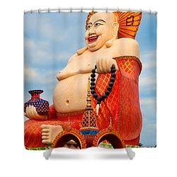 smiling Buddha Shower Curtain by Adrian Evans