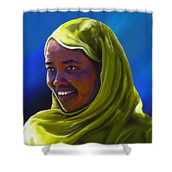 Shower Curtain featuring the painting Smiling Lady by Anthony Mwangi