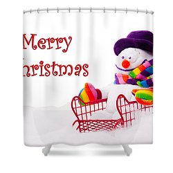 Shower Curtain featuring the photograph Snowman Riding In A Red Sleigh - Christmas  by Vizual Studio