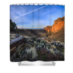 Smith Rock At Sunrise Shower Curtain by Everet Regal