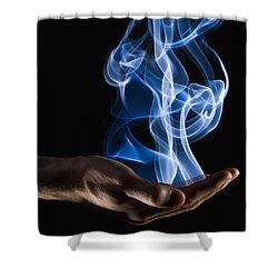 Smoke Wisps From A Hand Shower Curtain by Corey Hochachka