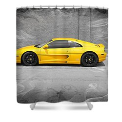Shower Curtain featuring the photograph Smokin' Hot Ferrari by Kathy Churchman