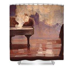 Smokin Piano Shower Curtain by Emily Gibson