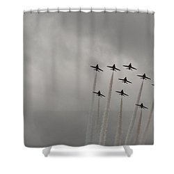 Shower Curtain featuring the pyrography Smoking Planes by Tracey Williams