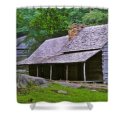 Smoky Mountain Cabins Shower Curtain by Frozen in Time Fine Art Photography