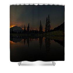 Smoldering Rainier Shower Curtain by Mike Reid