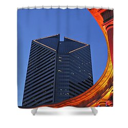 Smurfit-stone Building Behind  Wrigley Shower Curtain by Axiom Photographic