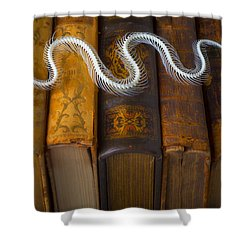 Snake And Antique Books Shower Curtain by Garry Gay