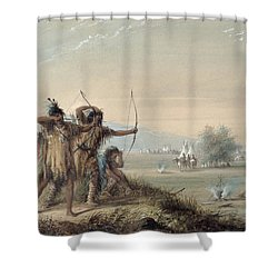 Snake Indians Testing Bows Shower Curtain by Alfred Jacob Miller
