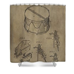 Snare Drum Patent Shower Curtain by Dan Sproul