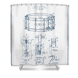 Snare Drum Patent Drawing From 1910  - Blue Ink Shower Curtain