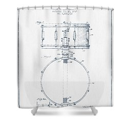Snare Drum Patent Drawing From 1939 - Blue Ink Shower Curtain by Aged Pixel