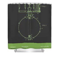 Snare Drum Patent From 1939 - Gray Green Shower Curtain by Aged Pixel