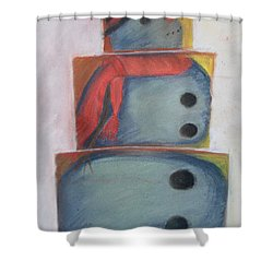 S'no Man Shower Curtain by Claudia Goodell