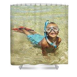 Snorleing Boy Shower Curtain by Kicka Witte
