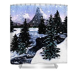 Snow And A Cold Mountain Brook Painterly  Shower Curtain by Barbara Griffin