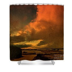 Snow And Fire Shower Curtain by Liz  Alderdice