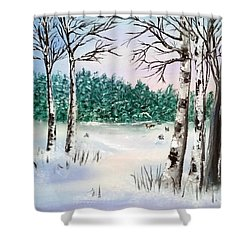 Snow And Trees Shower Curtain