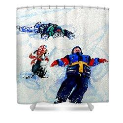 Snow Angels Shower Curtain by Hanne Lore Koehler