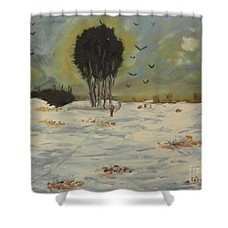 Shower Curtain featuring the painting Snow At Christmas by Pamela  Meredith